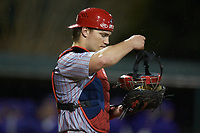 St. John's Red Storm catcher Colin Wetterau (34) on defense against the Western Carolina Catamounts at Childress Field on March 13, 2021 in Cullowhee, North Carolina. (Brian Westerholt/Four Seam Images)