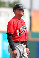 Indianapolis Indians manager Dean Treanor #27 during a game against the Buffalo Bisons at Coca-Cola Field on May 22, 2012 in Buffalo, New York.  Indianapolis defeated Buffalo 6-3.  (Mike Janes/Four Seam Images)