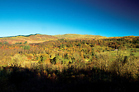 Autumn colours above The Pass of Leny near Kilmahog, Loch Lomond and The Trossachs National Park
