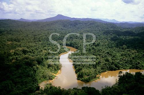 Roraima State, Brazil. Winding Amazon region river - Mucajai River, tributary of the Rio Branco, which feeds the Amazon.