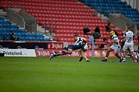 29th August 2020; AJ Bell Stadium, Salford, Lancashire, England; English Premiership Rugby, Sale Sharks versus Bristol Bears; Manu Tuilagi of Sale Sharks makes a flying tackle