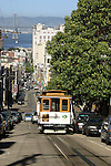 TROLLEY ON STEEP HILL IN SAN FRANCISCO