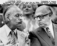 Rene,Levesque, Jean Drapeau (R) at Montreal Velodrome<br /> <br /> Photo : Boris Spremo - Toronto Star archives - AQP