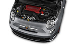 Car Stock 2017 Fiat 500c Abarth-Cabrio 2 Door Convertible Engine  high angle detail view