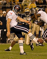 Virginia Cavaliers Punter Chris Gould displays his punting style during the Cavaliers 38-13 loss to the Pitt Panthers on September 02, 2006 at Heinz Field, Pittsburgh, Pennsylvania.