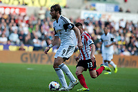 Saturday 19 October 2013 Pictured: Michu of Swansea makes a run past Emanuele Giaccherini<br /> Re: Barclays Premier League Swansea City vSunderland at the Liberty Stadium, Swansea, Wales