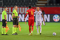 Amadou Onana (6) of Belgium and Nikolas Nartey (6) of Denmark pictured before a soccer game between the national teams Under21 Youth teams of Belgium and Denmark on the fourth matday in group I for the qualification for the Under 21 EURO 2023 , on tuesday 12 th of october 2021  in Leuven , Belgium . PHOTO SPORTPIX   STIJN AUDOOREN