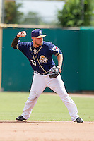 San Antonio Missions second baseman Taylor Lindsey (27) makes a throw to first base during the Texas League baseball game against the Midland RockHounds on June 28, 2015 at Nelson Wolff Stadium in San Antonio, Texas. The Missions defeated the RockHounds 7-2. (Andrew Woolley/Four Seam Images)