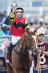 Jockey Hugh Bowman riding Lucky Bubbles celebrates after winning the Chairman's Sprint Prize (1200m) on 07 May 2017, at the Sha Tin Racecourse  in Hong Kong, China. Photo by Chris Wong / Power Sport Images