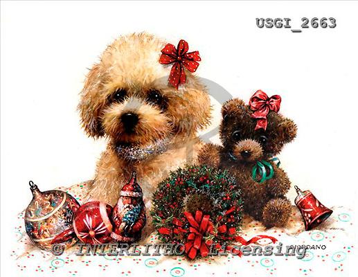 GIORDANO, CHRISTMAS ANIMALS, WEIHNACHTEN TIERE, NAVIDAD ANIMALES, paintings+++++,USGI2663,#XA# dogs,puppies