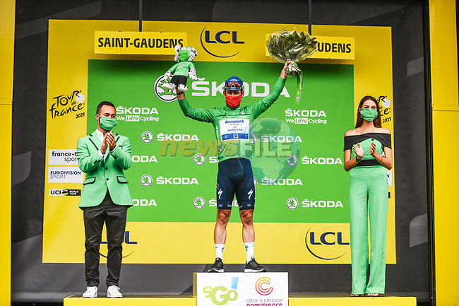 Mark Cavendish (GBR) Deceuninck-Quick Step retains the points Green Jersey at the end of Stage 16 of the 2021 Tour de France, running 169km from Pas de la Case to Saint-Gaudens, Andorra. 13th July 2021.   <br /> Picture: A.S.O./Charly Lopez | Cyclefile<br /> <br /> All photos usage must carry mandatory copyright credit (© Cyclefile | A.S.O./Charly Lopez)
