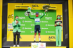Mark Cavendish (GBR) Deceuninck-Quick Step retains the points Green Jersey at the end of Stage 16 of the 2021 Tour de France, running 169km from Pas de la Case to Saint-Gaudens, Andorra. 13th July 2021.   <br /> Picture: A.S.O./Charly Lopez   Cyclefile<br /> <br /> All photos usage must carry mandatory copyright credit (© Cyclefile   A.S.O./Charly Lopez)