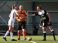 OHL's captain Lenie Onzia (18) gives a fist bump to Aalst's captain Chloe Van Mingeroet (17) before a female soccer game between Oud Heverlee Leuven and Eendracht Aalst Ladies  on the third matchday of the 2020 - 2021 season of Belgian Womens Super League , Sunday 4 th of October 2020  in Heverlee , Belgium . PHOTO SPORTPIX.BE | SPP | SEVIL OKTEM