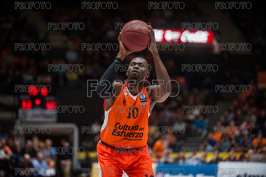 VALENCIA, SPAIN - JANUARY 6: Romain Sato during EUROCUP match between Valencia Basket and PAOK Thessaloniki at Fonteta Stadium on January 6, 2015 in Valencia, Spain