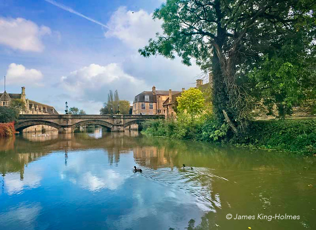 The River Welland, in Stamford, Lincolshire, UK looking downstream towards the Town Bridge