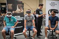 """Animal Equality informiert mit iAnimal ueber die Verhaeltnisse in Mastbetrieben und Schlachthaeusern.<br /> Die Tierschutzorganisation Animal Equality zeigt mit dem  Virtual-Reality-Projekt """"iAnimal"""" mit sog. VR-Brillen in einem 360°-Film die Ablaeufe in einem Schweinemastbetrieb und Schlachthaus. Mit der Technologie der Virtuellen Realitaet wird vermittelt, wie es sich anfuehlt, ein Tier in der Fleischindustrie zu sein.<br /> Mit der 360°-Erfahrung befinden sich die Zuschauer auf """"Augenhoehe"""" mit den Tieren wieder und erleben hautnah den Alltag in den Betrieben.<br /> Die Tierschutzorganisation moechte mit dieser Aktion die Menschen animieren, sich Gedanken ueber den Fleischkonsum zu machen.<br /> 28.7.2016, Berlin<br /> Copyright: Christian-Ditsch.de<br /> [Inhaltsveraendernde Manipulation des Fotos nur nach ausdruecklicher Genehmigung des Fotografen. Vereinbarungen ueber Abtretung von Persoenlichkeitsrechten/Model Release der abgebildeten Person/Personen liegen nicht vor. NO MODEL RELEASE! Nur fuer Redaktionelle Zwecke. Don't publish without copyright Christian-Ditsch.de, Veroeffentlichung nur mit Fotografennennung, sowie gegen Honorar, MwSt. und Beleg. Konto: I N G - D i B a, IBAN DE58500105175400192269, BIC INGDDEFFXXX, Kontakt: post@christian-ditsch.de<br /> Bei der Bearbeitung der Dateiinformationen darf die Urheberkennzeichnung in den EXIF- und  IPTC-Daten nicht entfernt werden, diese sind in digitalen Medien nach §95c UrhG rechtlich geschuetzt. Der Urhebervermerk wird gemaess §13 UrhG verlangt.]"""