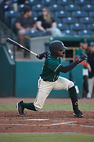 Liover Peguero (10) of the Greensboro Grasshoppers follows through on his swing against the Hickory Crawdads at First National Bank Field on May 6, 2021 in Greensboro, North Carolina. (Brian Westerholt/Four Seam Images)