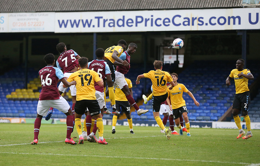 West Ham United's Mesaque Dju goes close with a second half header<br /> <br /> Photographer Rob Newell/CameraSport<br /> <br /> EFL Trophy Southern Section Group A - Southend United v West Ham United U21 - Tuesday 8th September 2020 - Roots Hall - Southend-on-Sea<br />  <br /> World Copyright © 2020 CameraSport. All rights reserved. 43 Linden Ave. Countesthorpe. Leicester. England. LE8 5PG - Tel: +44 (0) 116 277 4147 - admin@camerasport.com - www.camerasport.com