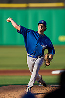 Dunedin Blue Jays pitcher Nick Frasso (26) delivers a warmup pitch during a game against the Clearwater Threshers on May 20, 2021 at BayCare Ballpark in Clearwater, Florida.  (Mike Janes/Four Seam Images)