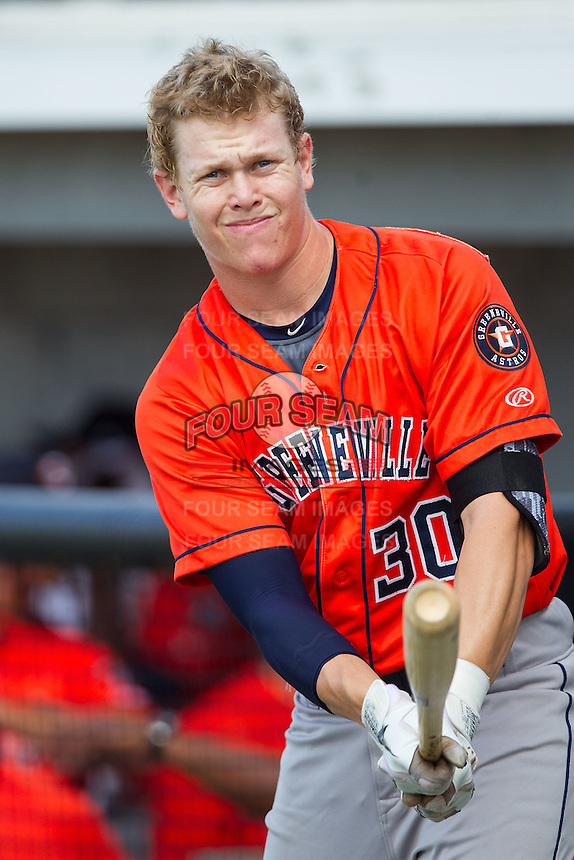 Trent Woodward (30) of the Greeneville Astros prior to the game against the Burlington Royals at Burlington Athletic Park on June 29, 2014 in Burlington, North Carolina.  The Royals defeated the Astros 11-0. (Brian Westerholt/Four Seam Images)