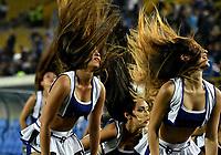 BOGOTA - COLOMBIA - 09 – 05 - 2017: Bastoneras de Millonarios animan a su equipo durante partido de la fecha 17 entre Millonarios y Cortulua, por la Liga Aguila I-2017, jugado en el estadio Nemesio Camacho El Campin de la ciudad de Bogota. / Cheerleaders of Millonarios cheer for their team during a match of the date 17th between Millonarios and Cortulua, for the Liga Aguila I-2017 played at the Nemesio Camacho El Campin Stadium in Bogota city, Photo: VizzorImage / Luis Ramirez / Staff.