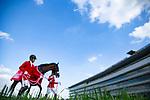 TAKARAZUKA,JAPAN-APRIL 08: Almond Eye,ridden by Christophe Lemaire, after winning the Oka Sho (Japanese 1000 Guineas) at Hanshin Racecourse on April 8,2018 in Takarazuka,Hyogo,Japan (Photo by Kaz Ishida/Eclipse Sportswire/Getty Images)