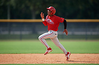Philadelphia Phillies Jesus Alastre (31) runs the bases during a Florida Instructional League game against the New York Yankees on October 11, 2018 at Yankee Complex in Tampa, Florida.  (Mike Janes/Four Seam Images)