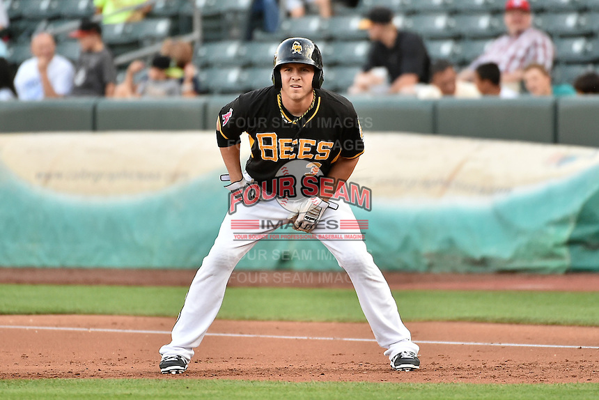J.B. Shuck (3) of the Salt Lake Bees takes his lead from first base against the El Paso Chihuahuas in Pacific Coast League action at Smith's Ballpark on August 7, 2014 in Salt Lake City, Utah.  (Stephen Smith/Four Seam Images)
