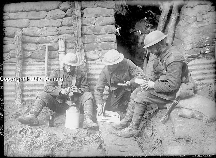 FILE -  Canadian soldiers in a trench, in 1916 during WWI.
