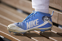 A detail view of a North Carolina Tar Heels cleat during the game against the South Carolina Gamecocks at BB&T BallPark on April 3, 2018 in Charlotte, North Carolina. The Tar Heels defeated the Gamecocks 11-3. (Brian Westerholt/Four Seam Images)
