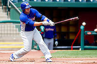 Michael Spina (18) of the Midland RockHounds hits a ground ball during a game against the Springfield Cardinals on April 19, 2011 at Hammons Field in Springfield, Missouri.  Photo By David Welker/Four Seam Images