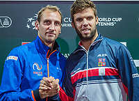 The Hague, The Netherlands, September 13, 2017,  Sportcampus , Davis Cup Netherlands - Chech Republic, Draw, First Rubber: Jiri Vesely (CZE) (R) vs Thiemo de Bakker (NED)<br /> Photo: Tennisimages/Henk Koster