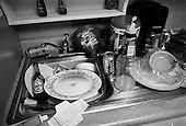 Panama City, Florida.USA.March 2004..Young Americans party in Florida for spring break 2004...A kitchen in a hotel room occupies by any number of kids..