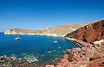The popular Red Beach on the island of Santorini, Greece