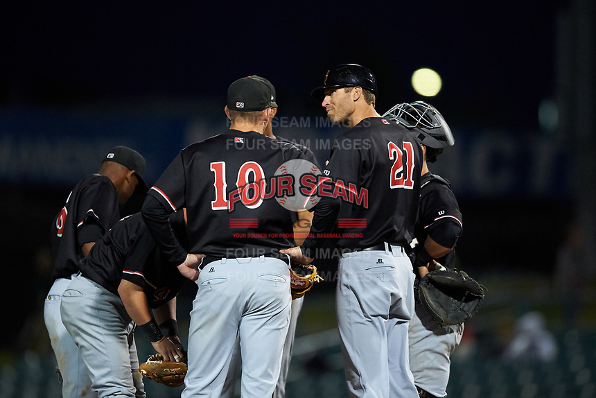 Visalia Rawhide manager Joe Mather (21) makes a pitching change during a California League game against the Lancaster JetHawks at The Hangar on May 17, 2018 in Lancaster, California. Lancaster defeated Visalia 11-9. (Zachary Lucy/Four Seam Images)