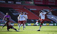 2nd April 2021; Vitality Stadium, Bournemouth, Dorset, England; English Football League Championship Football, Bournemouth Athletic versus Middlesbrough; the shot from Yannick Bolasie of Middlesbrough goes wide from close in