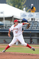 Andrew Case #37 of the Vancouver Canadians pitches against the Hillsboro Hops at Nat Bailey Stadium on July 24, 2014 in Vancouver, British Columbia. Hillsboro defeated Vancouver, 7-3. (Larry Goren/Four Seam Images)