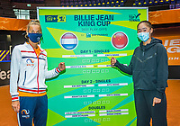 Den Bosch, The Netherlands, April 15, 2021,    Maaspoort, Billy Jean King Cup  Netherlands -  China : Draw , Seccond single on friday,  Aranxta Rus (NED) (L) and Xiyu Wang (CHN)<br /> Photo: Tennisimages/Henk Koster