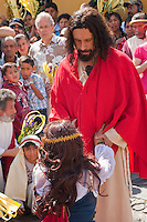 Jesus Forgives the Woman Caught in Adultery.  (John 8:1-11)  Palm Sunday Re-enactment of events in the life of Jesus, by the group called Luna LLena (Full Moon), a group of volunteers in Antigua, Guatemala.