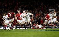 Photo: Richard Lane/Richard Lane Photography. Wales v England. RBS 6 Nations Championship. 16/03/2013. England's Geoff Parling attacks.