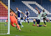 3rd October 2020; Ewood Park, Blackburn, Lancashire, England; English Football League Championship Football, Blackburn Rovers versus Cardiff City; Greg Cunningham of Cardiff City tries to cut out a cross as Sam Gallagher of Blackburn Rovers waits for the loose ball