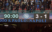 Thursday 27 February 2014<br /> Pictured: Final score on the scoreboard<br /> Re: UEFA Europa League, SSC Napoli v Swansea City FC at Stadio San Paolo, Naples, Italy.