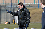 St Johnstone Training….15.03.19<br />Manager Tommy Wright pictured during a short sprint competion in training this morning at McDiarmid Park ahead of tomorrow's game against St Mirren.<br />Copyright Perthshire Picture Agency<br />Tel: 01738 623350  Mobile: 07990 594431