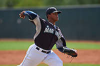 Seattle Mariners Freddy Peralta (15) during an instructional league game against the Texas Rangers on October 5, 2015 at the Surprise Stadium Training Complex in Surprise, Arizona.  (Mike Janes/Four Seam Images)
