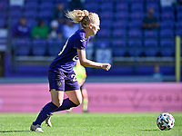 Charlotte Tison (20) of Anderlecht pictured during a female soccer game between RSC Anderlecht Dames and Standard Femina de Liege on the sixth matchday of the 2021 - 2022 season of Belgian Womens Super League , saturday 9 th of October 2021  in Brussels , Belgium . PHOTO SPORTPIX   DAVID CATRY