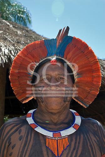 Xingu Indigenous Park, Mato Grosso State, Brazil. Aldeia Tuba Tuba (Yudja). Cacique Kamitai Yudja, painted and decorated for the party.