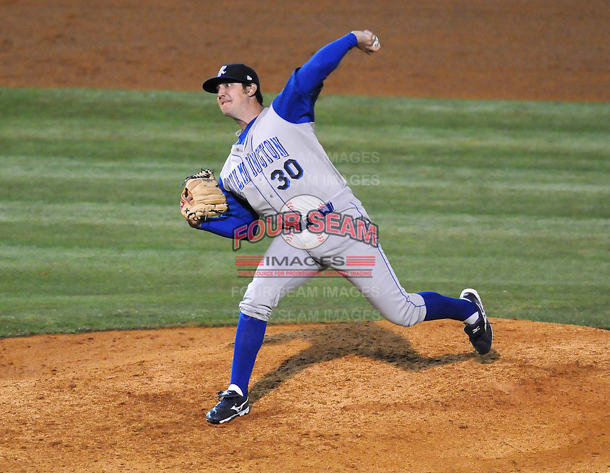 April 10, 2009: LHP Craig Rodriguez of the Wilmington Blue Rocks, Class A affiliate of the Kansas City Royals, in a game against the Myrtle Beach Pelicans at BB&T Coastal Field in Myrtle Beach, S.C. Photo by:  Tom Priddy/Four Seam Images
