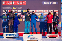 12th February 2021; Idre Fjall, Sweden;  Gold medalists Lucas Eguibar 3rd L of Spain and Charlotte Bankes 3rd R of Britain, silver medalists Alessandro Haemmerle 1st L of Austria and Michela Moioli 2nd L of Italy, bronze medalists Eliot Grondin 2nd R of Canada and Eva Samkova of the Czech Republic pose for photograph at the FIS ski cross and snowboard cross World Championships in Idre Fjall, Sweden