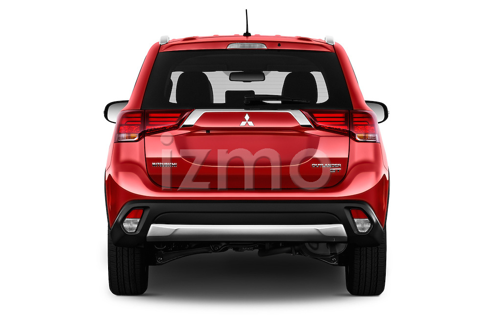 Straight rear view of 2016 Mitsubishi Outlander GT 5 Door SUV Rear View  stock images