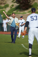 Actor Dwier Brown warms up with Pulaski Yankees pitcher Derek Craft (53) prior to throwing out a ceremonial first pitch prior to the Appalachian League game against the Danville Braves at Calfee Park on June 30, 2019 in Pulaski, Virginia. The Braves defeated the Yankees 8-5 in 10 innings.  (Brian Westerholt/Four Seam Images)